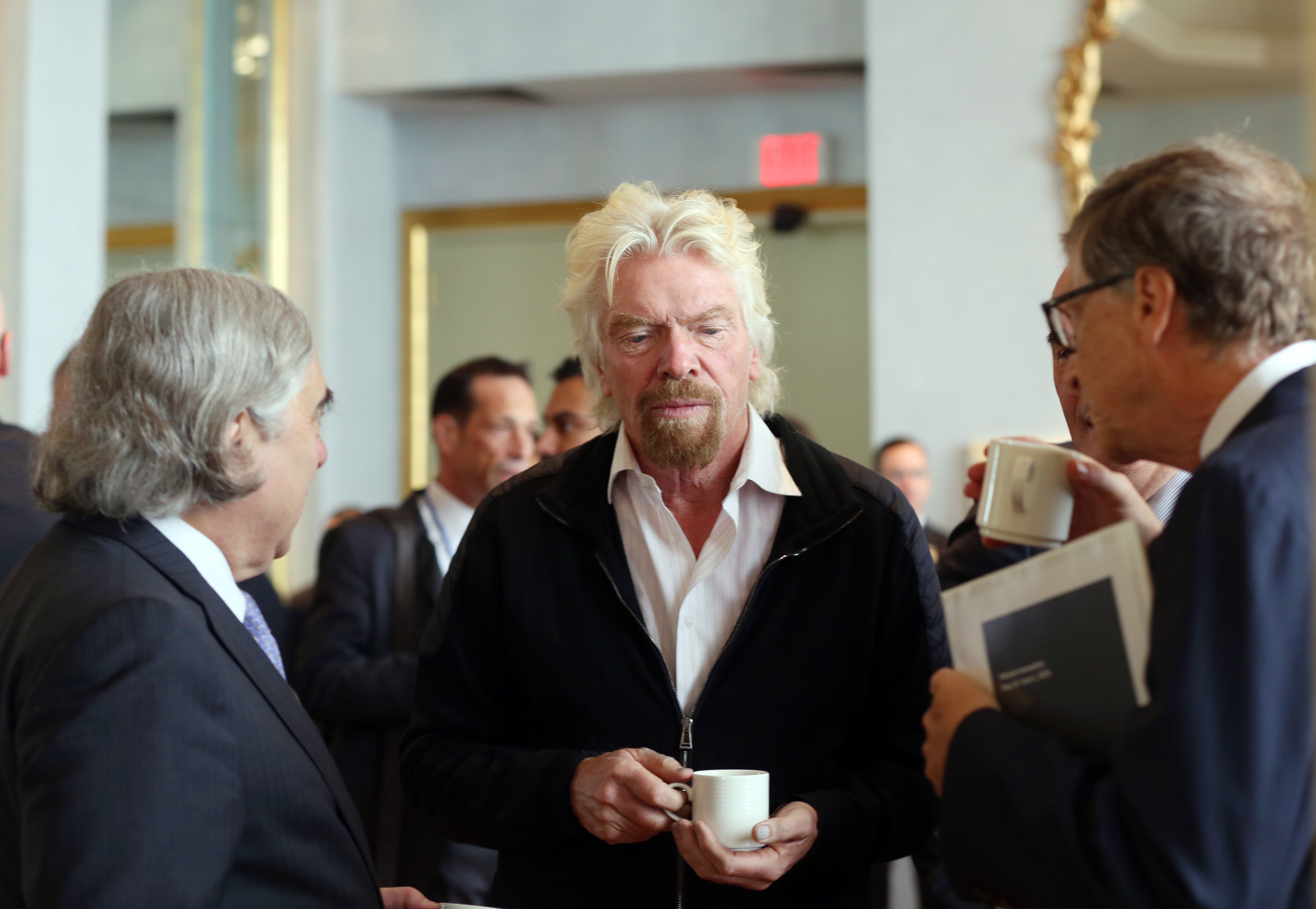 Richard Branson and Bill Gates at Mission Innovation clean energy breakfast