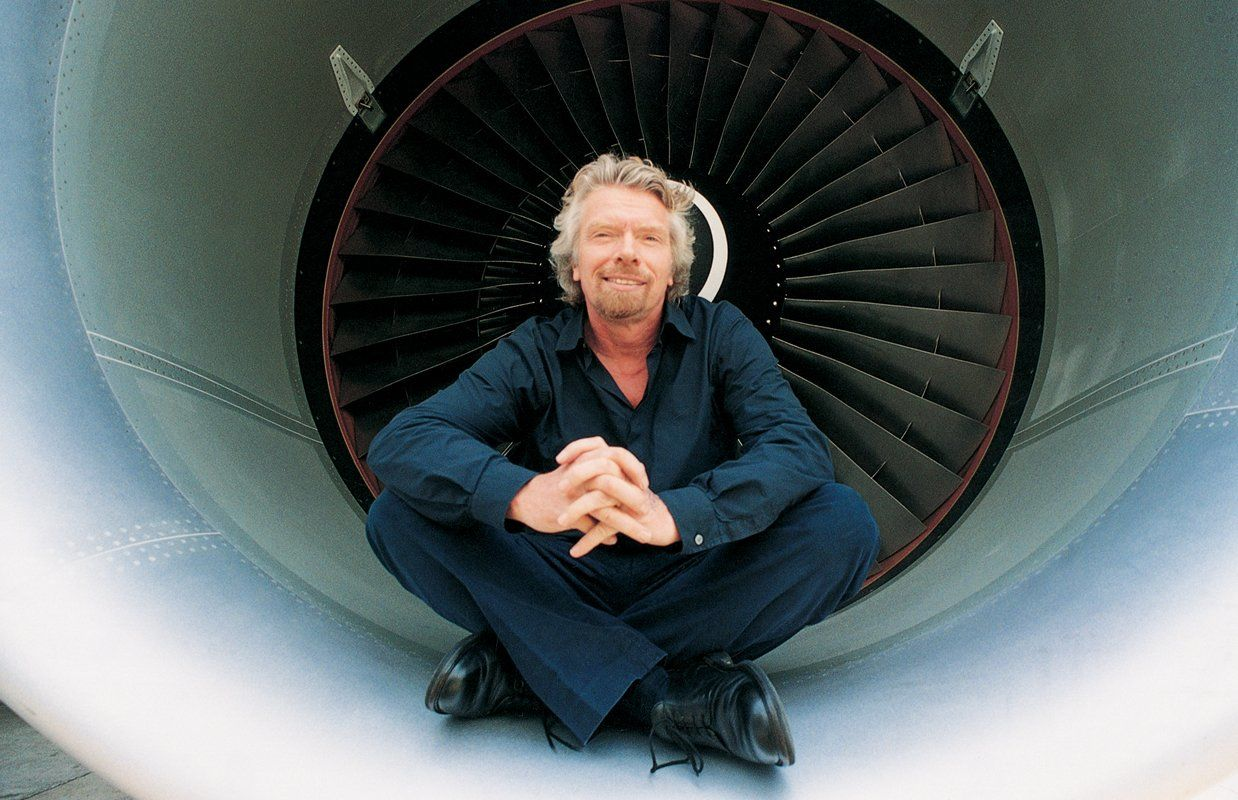 Richard Branson on Virgin Atlantic plane