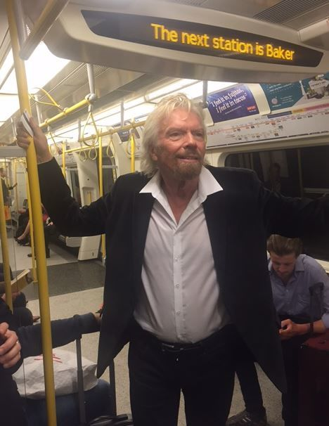 Richard Branson on the tube