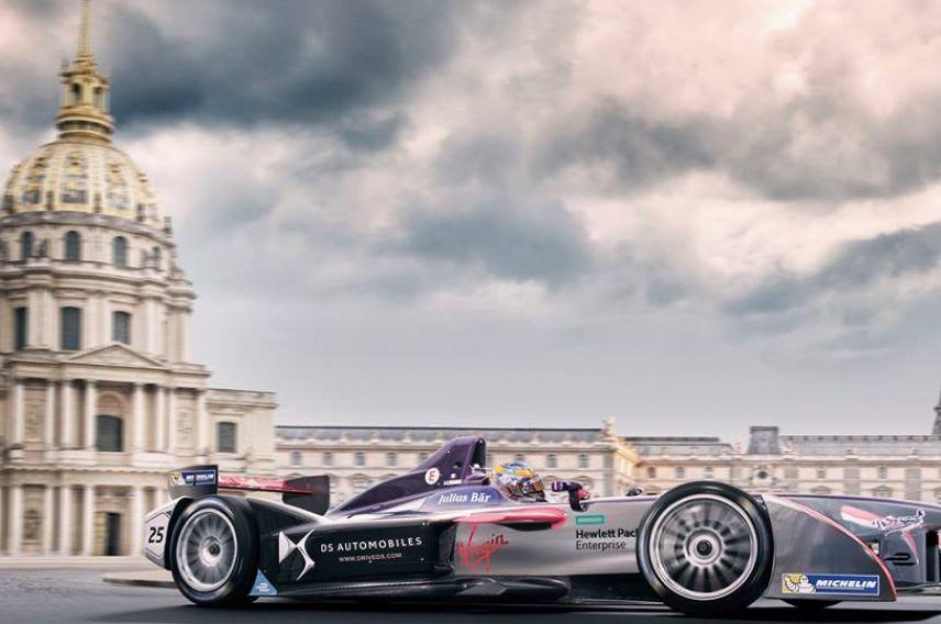 DS Virgin Racing driver Jean-Eric Vergne drives through Paris