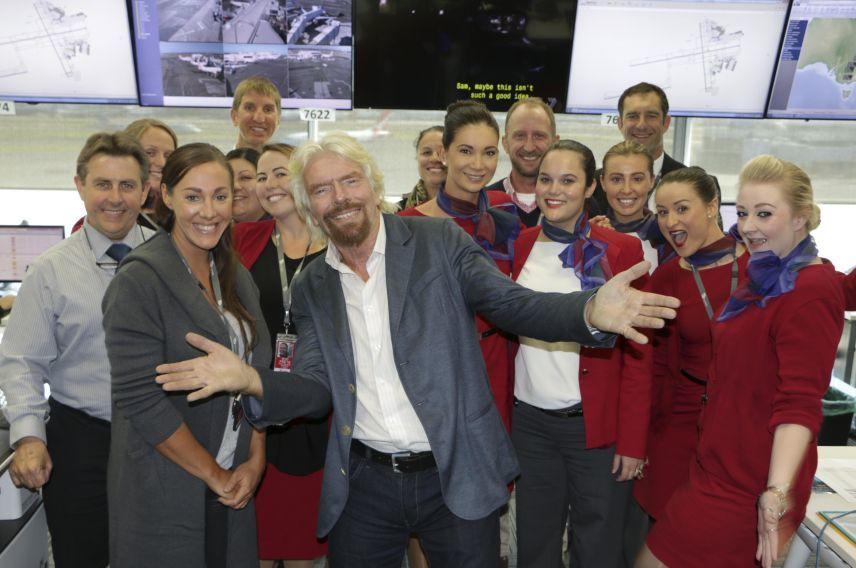 Richard Branson and Virgin Australia team