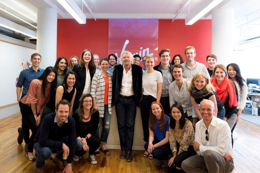 Richard Branson and the New York Virgin team