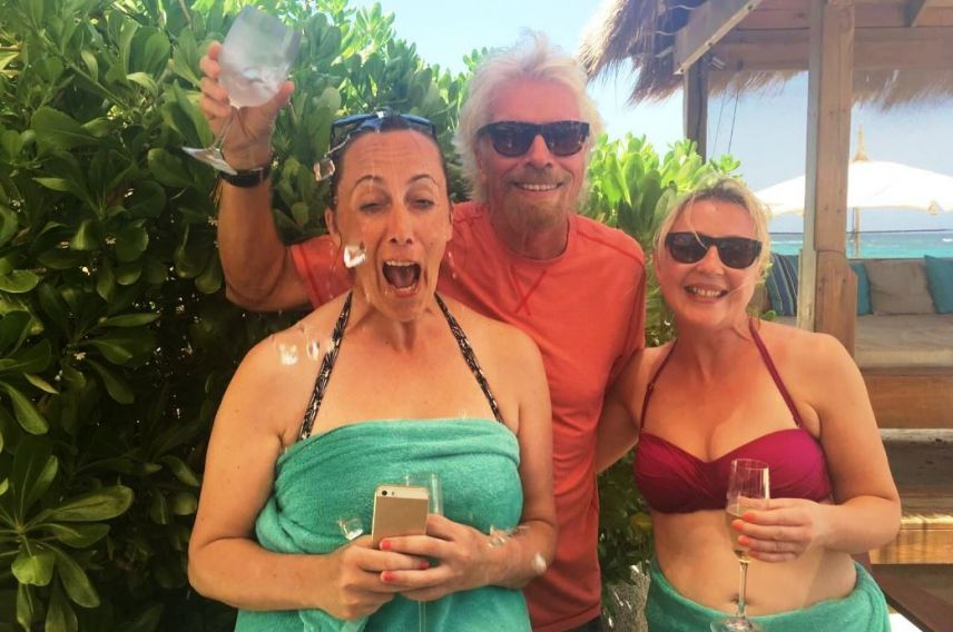 richard branson pouring ice on red winners