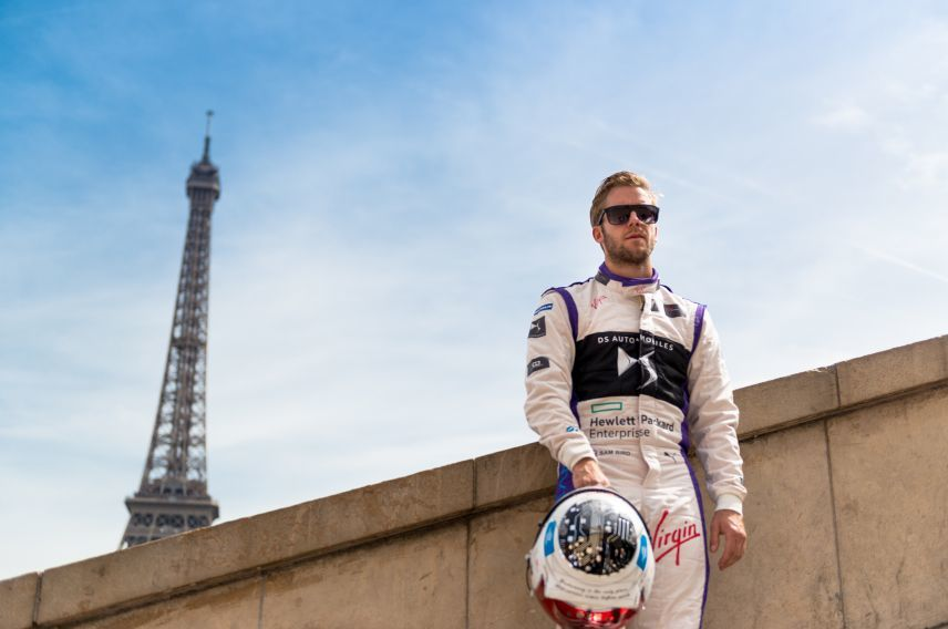 DS Virgin Racing driver Sam Bird in front of the Eiffel Tower