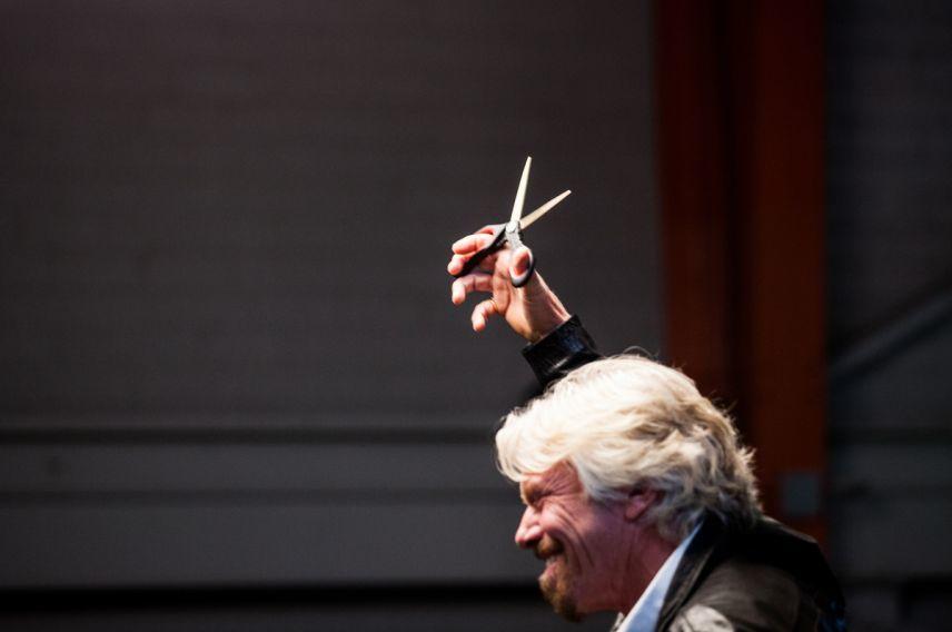 Richard Branson scissors
