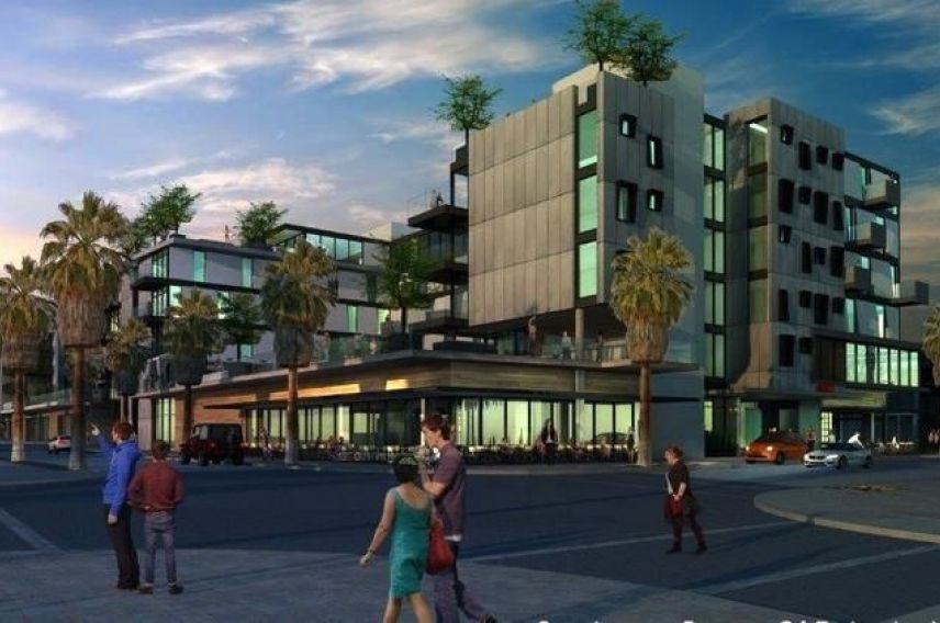 A rendered image of Virgin Hotels Palm Springs