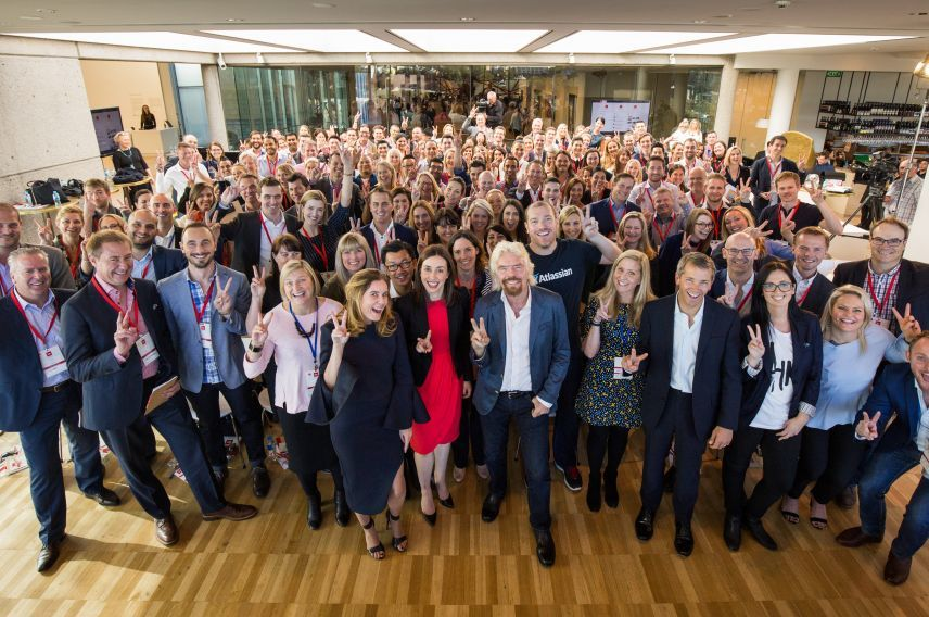 Richard Branson and Australian team members at the Virgin Way Co-Lab