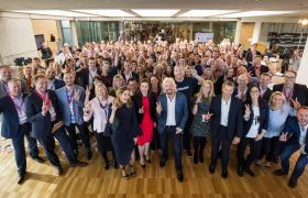 Richard Branson and Australian team members at the Virgin Way Co-Lab