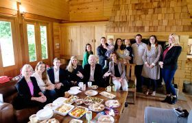 Richard Branson and Holly Branson brunch with Virgin team members