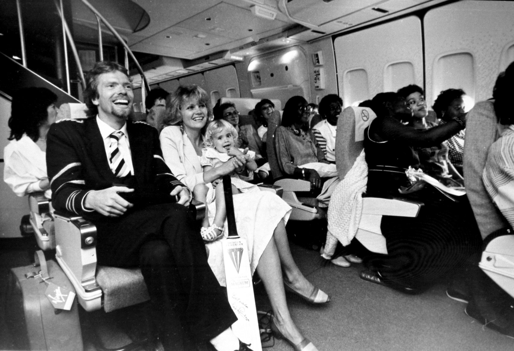 Richard Branson on the Virgin Atlantic inaugural flight from London to New York in 1984