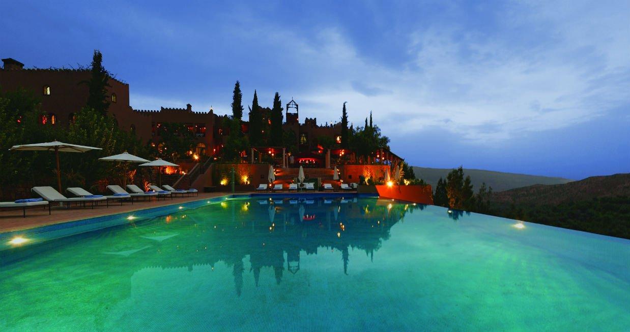 Kasbah Tamalot Infinity Pool at night