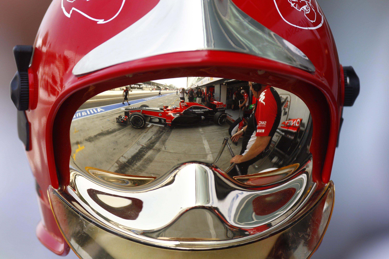 Grand Prix 2009 race reflected in visor