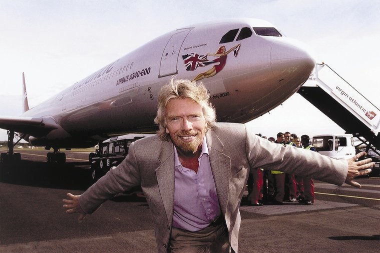 Richard Branson with Virgin Atlantic plane