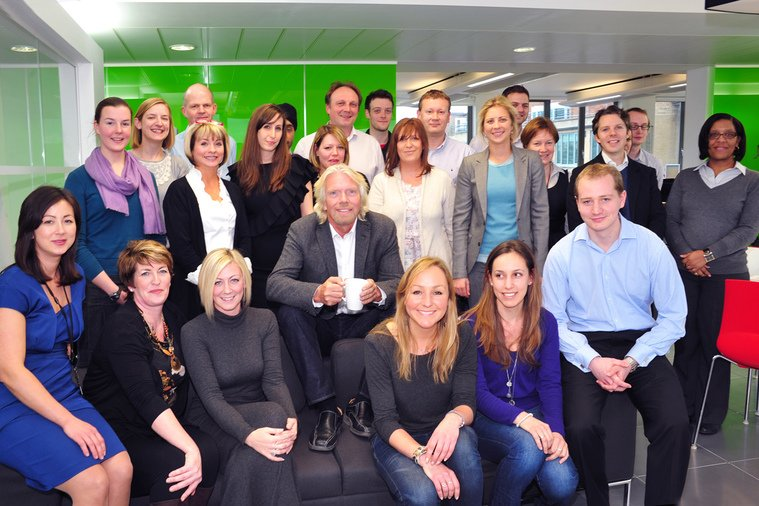 Richard Branson with members of Virgin Care
