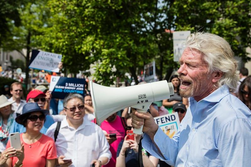 B Team - Richard Branson at protest