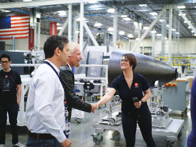 Richard Branson, Dan Hart meeting Virgin Orbit team members