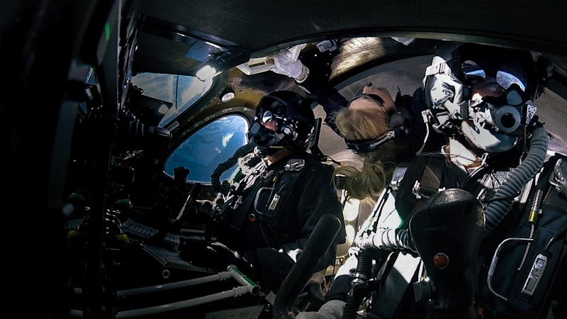 Virgin Galactic crew at an altitude of 295,000 feet above the Mojave Desert on today