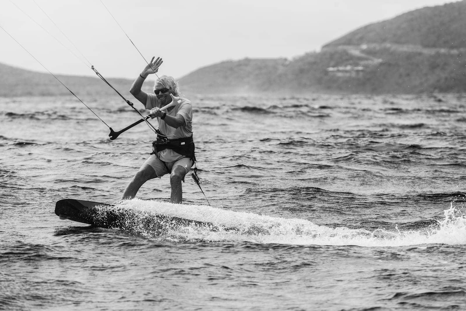 Richard Branson windsurfing