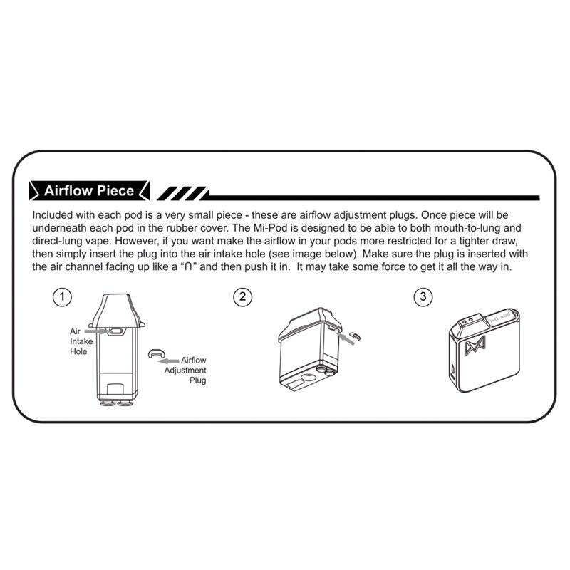 Smoking Vapor Mi-POD Cartridge Airflow Adjustment