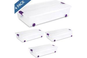 Caja bajo cama Sterilite de plástico con ruedas 60 QTS / 57 litros