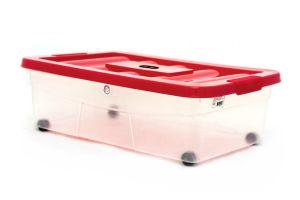 Caja de plástico transparente con ruedas, Erick 20 C/Ruedas Y Tapa