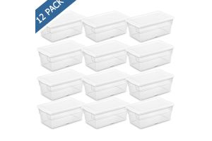 Caja de almacenamiento tapa blanca con base transparente 16 qt / 15 l