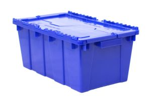 Caja de tipo industrial con bisagras de polietileno con capacidad de 30 kilogramos con tapa, anidable y apilable 50x21cm