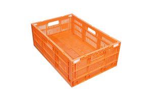 Caja de plástico tipo agrícola de polietileno, colapsable con capacidad de 20 kilogramos