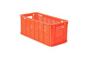 Caja de tipo agrícola de plástico, calada con capacidad de 10 kilogramos