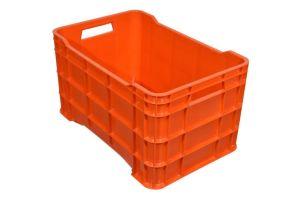 Caja de tipo agrícola calada de plástico con capacidad de 60 kilogramos y apilable