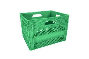 Caja de tipo agrícola estilo lechera con plástico reciclado de polietileno con capacidad de 25 kilogramos/ 20 litros y medidas de 44x33cm