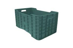 Caja de tipo agrícola con plástico reciclado, cerrada de polietileno con capacidad de 50 kilogramos, apilable y medidas de 73x42cm