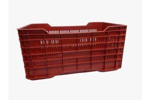 Caja de tipo agrícola con plástico reciclado, carrada de polietileno con capacidad de 70 kilogramos, apilable y medidas de 73x42cm