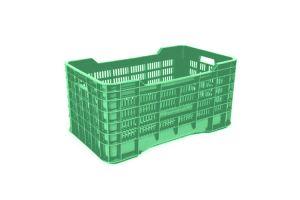 Caja de tipo agrícola gigante con plástico reciclado de polietileno con capacidad de 70 kilogramos y medidas de 73x42cm