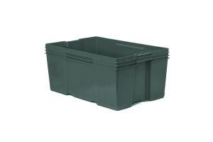 Caja de tipo industrial con plástico reciclado de polietileno con capacidad de 35 kilogramos, apilable con medidas de 60x40cm