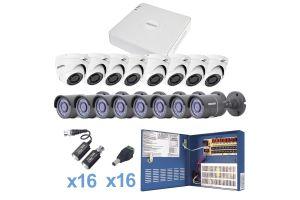 Sistema TURBO HD720p, DVR 16 ch, con 8 cámaras eyeball interior con cableado y fuente de poder profesional Heavy Duty de 20A