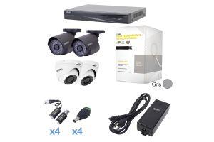 Sistema TURBOHD 1080p con DVR de 4 canales y 2 cámaras bala con cableado y fuente de poder profesional