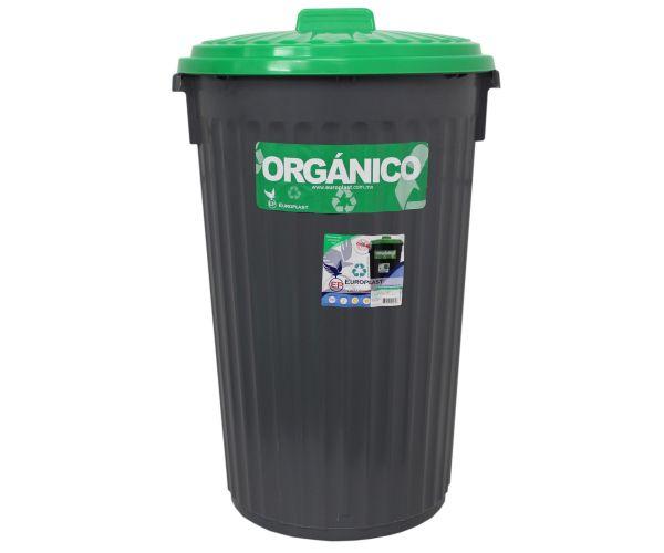 ✅ Bote de plástico orgánico e inorgánico, Bote Europlast No. 2  Con Tapa 100 L