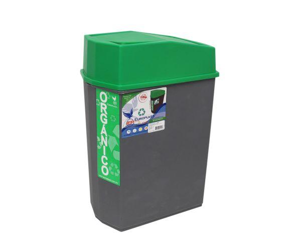✅ Bote rectangular con tapa oscilatoria orgánico e inorgánico, Bote Freddy 24 L
