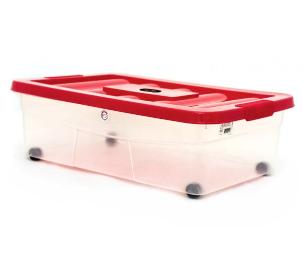 ✅ Caja de plástico transparente con ruedas, Erick 20 C/Ruedas Y Tapa