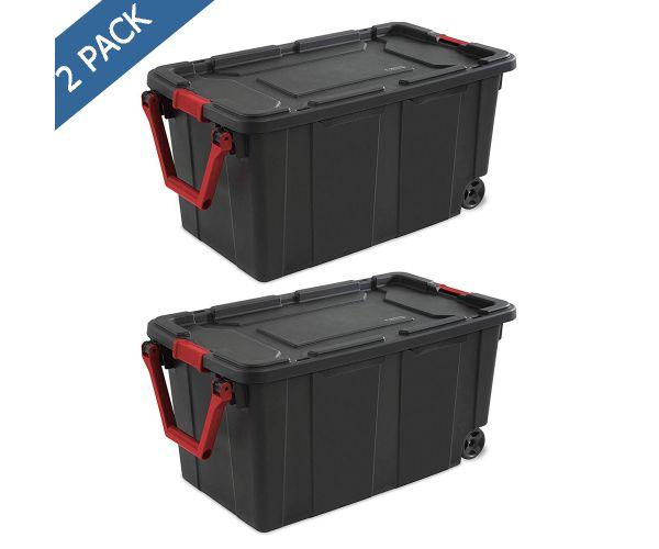 ✅ Caja de plástico Sterilite de uso industrial con ruedas 151 litros