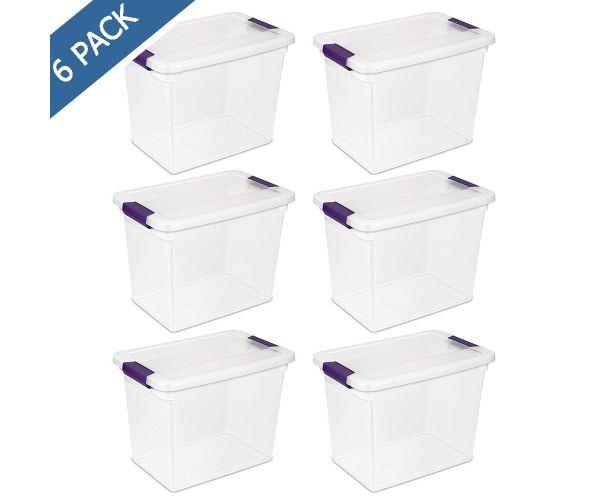 ✅ Caja Sterilite de plástico transparente con tapa y broches 26 litros