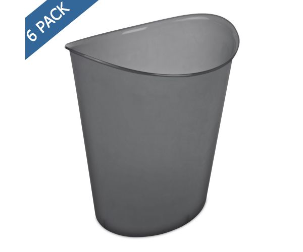 ✅ Cesto papelero ovalado Sterilite gris traslucido de 3 gal /  11.4 l