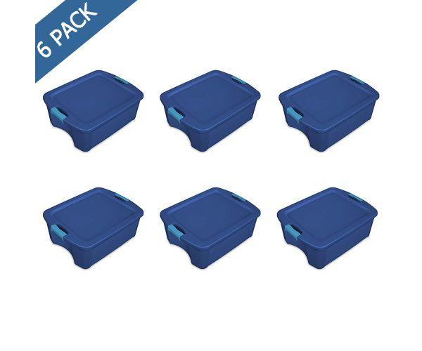 Caja de plástico Sterilite con pestillos latch & carry azul solido 12 gal / 45 l
