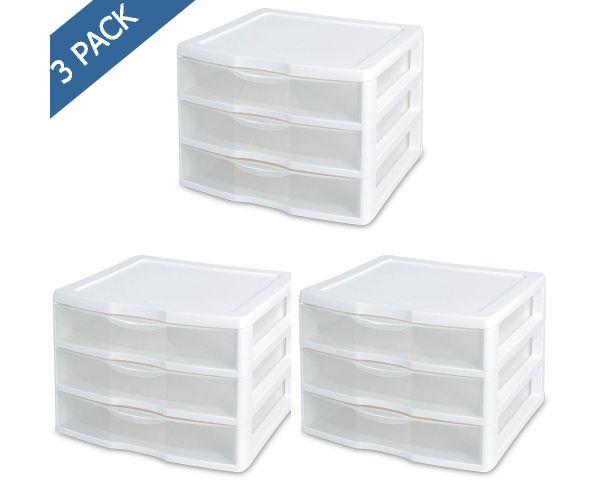 ✅ Mini Organizador cajonera de 3 cajones de plástico Sterilite