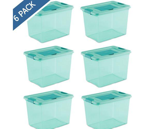 ✅ Caja de plástico multiusos sterilite con broches 24 litros