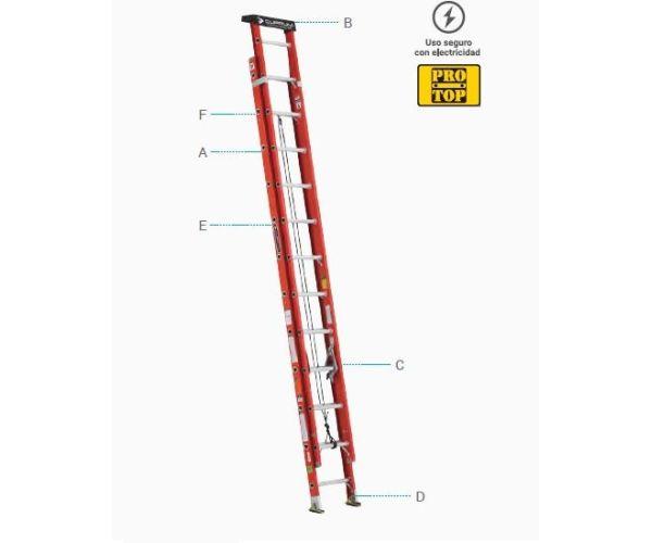 ✅ Escalera de Extensión de Aluminio de 20 peldaños y capacidad de carga de 175 kg máx. T-II