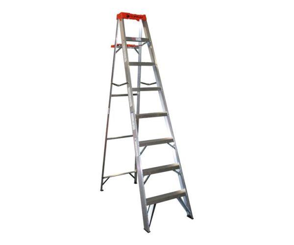 ✅ Escalera Tijera de Aluminio, 7 peldaños,  2.4 mt de altura y capacidad de carga de 175 kg máx. T-II