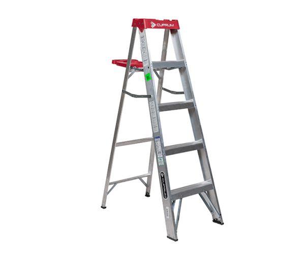 ✅ Escalera Tijera de Aluminio 4 peldaños, 1.5 mt de altura y capacidad de carga de 150 kg máx. T-III