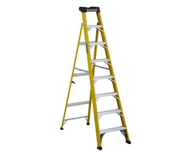 ✅ Escalera cross step 2 en 1 de fibra de vidrio de 8 pies de altura y capacidad de carga 200 kg max.